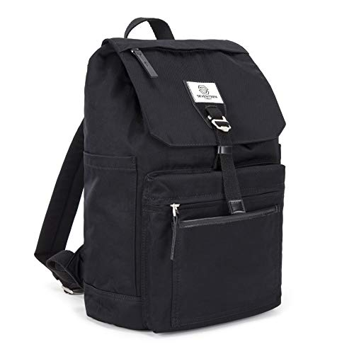 SEVENTEEN LONDON – Moderner und stilvoller 'Fulham' Rucksack in schwarz mit einem klassischen gefalteten Design – perfekt für 13-Zoll-Laptops