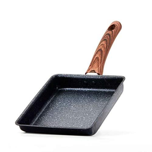 Ramble Sartén Rectangular de Hierro para freír, Rollo de Huevo, sartén para Tortilla de Sushi con Mango de Madera para freír Huevos, panqueques