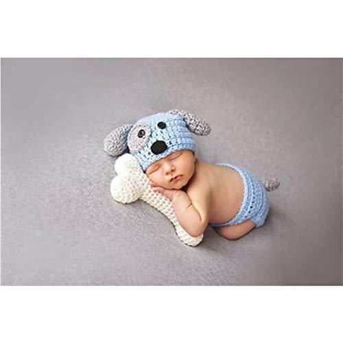 Moda Neonati Ragazzi Ragazze Bambino Costume gestrickte Fotografia Puntelli cagnolino Cappello Pantaloni Blue+Bone