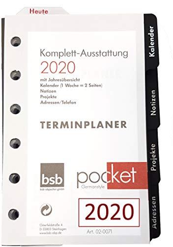 A7 Pocket Komplettausstattung 2020 Terminplaner Kalendarium Nachfüll-Inlays Adressen Notizen Projekte 1Woche = 2Seiten 7,8x12,8cm handelsübliche Lochung