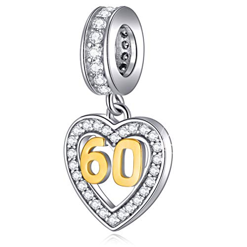 60 Years Old Anniversary Charms fits Pandora Women Bracelet, 18K Golden Number 60, 925 Sterling Silver Heart Necklace Pendant with Birthstones CZ, Milestones 60th Birthday Gifts for Nana/Mom