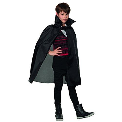 Amakando Cape Dracula avec col Montant - Noir | Cape de Vampire pour Enfants | Cape Enfant pour Halloween | Accessoire déguisement Vampire