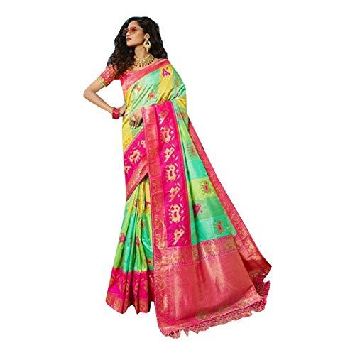 Bluse 8441 für Brautschmuck, Sari-Seide und Jacqaurd, mit Stickerei und Steinen, mehrfarbig