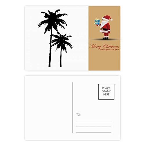 Kokosnoot boom Silhouette Plant Strand Kerstman ansichtkaart Set Thanks Card Mailing 20 stks