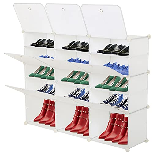 EastVita Zapatero de plástico, caja de almacenamiento de zapatos, zapatero de almacenamiento, caja de almacenamiento apilable, organizador de zapatos