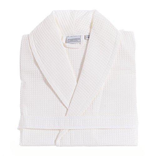 Linum Home Textiles Unisex Waffle Weave Bathrobe 100% Authentic Turkish Cotton Luxury Spa Hotel Collection, S/M, White