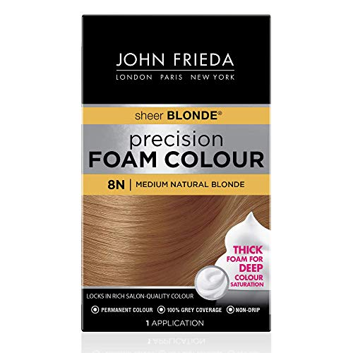 John Frieda Precision Foam Color, Medium Natural Blonde 8N, Full-coverage Hair Color Kit, with Thick Foam for Deep Color Saturation