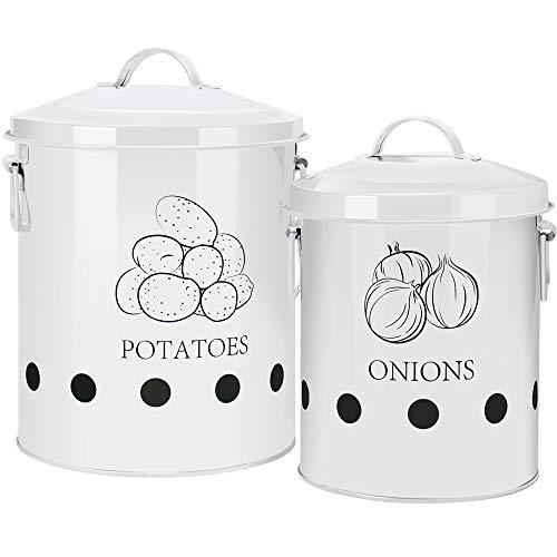 G.a HOMEFAVOR Olla Patatas, Cubo de Lata para Almacenamiento de Patatas, Cesta de Metal para Frutas, Verduras y Cebolla, Envases para ajo para la Cocina, Set de 2