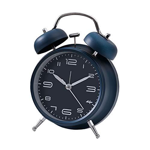 XIAOBMY Alarma Reloj Estilo Retro Reloj de Alarma mecánico Mecnico Reloj de Alarma de Campana mecánica analógica (Color : Dark Blue)