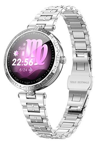 Women Smart Watch Luxury Diamond Bracelet Heart Rate Monitor Pedometer Wristwatch Calorie Counter Blood Pressure Message Reminder Ladies Smart Watches Fitness Tracker for Sleep Monitor