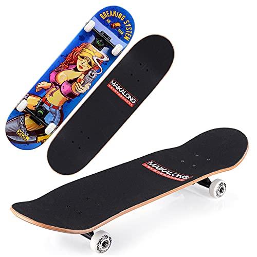 VOMI Skateboard Tabla Doble Patada 79 x 20 cm Patineta Completa 7 Capas Monopatín de Arce Madera con Rodamientos ABEC-9, Longboards para Adulto Principiantes Niñas Niños Adolescentes