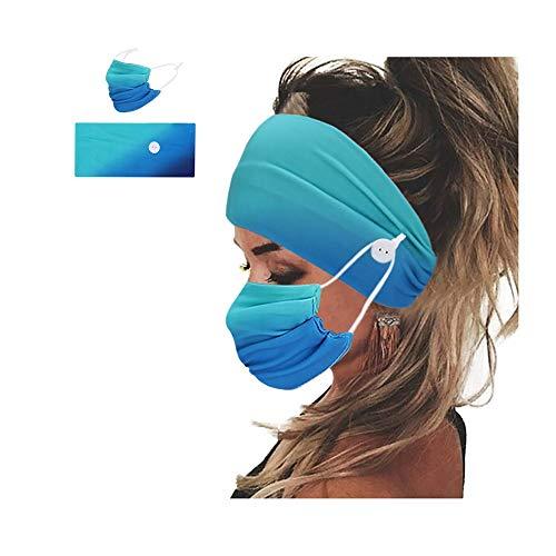 Maschera per la Bocca in Cotone Regolabile con Tintura Tie-dye Lavabile per Adulti + Set di Fascia per Capelli con Bottoni (Light blue)