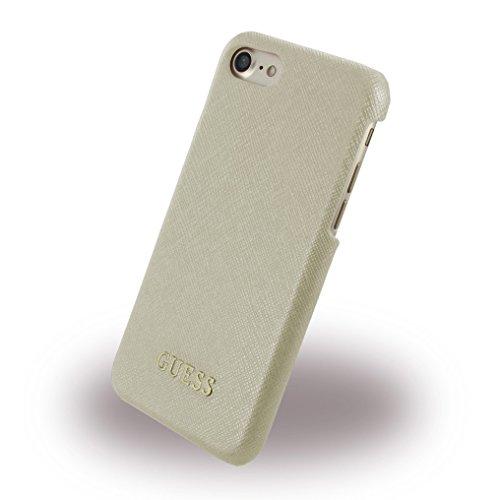 Guess GUHCP7TBE Saffiano Collection - Funda rígida para iPhone 8/7 (Piel sintética), Color Beige
