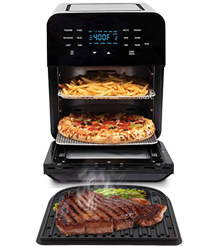 NUWAVE BRIO 14-Quart Large Capacity Air Fryer Oven with GRILL - Digital Touch Screen Controls and Integrated Digital Temperature Probe; 3 Heavy-Duty NEVER-RUST Stainless Steel Mesh Racks Great for Multi-Level Family Meals; Drip Tray; Rotisserie Kit includes Skewers and Basket; 100 Programmed Presets and the Ability to Store and Recall Your Own Programs; 1800 Watts w/ Adjustable Wattage Control - 900, 1500 & 1800; Advanced Functions include PROGRAM, SEAR, STAGE, PREHEAT, DELAY, WARM, ROTISSERIE