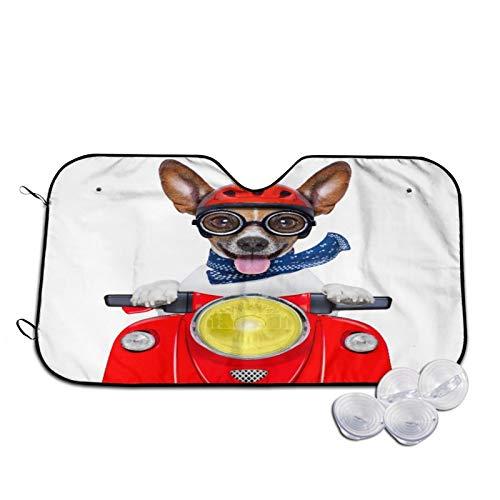 Parasol para Coche,Casco de Perro Rojo Divertido Loco Tonto Moto,Parabrisas de prevención de Calor Parasol Protector de Visera de Rayos UV 55'X29.9'