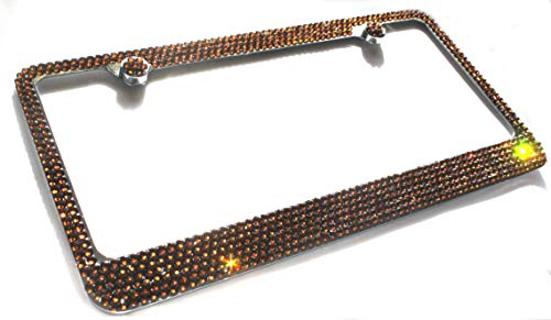 Hotblings 6 Row Brown Made w/Swarovski Elements Crystal Sparkle Bling Metal License Plate Frame & Caps Set … -  Swar 6R Brown