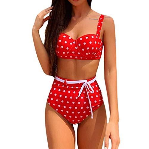 RISTHY Mujeres Bikini,Lunares Push Up Vintage Talle Alto Conjunto de Baño 2019 Traje De Baño De Dos Piezas Bikini Push...