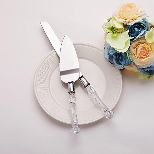 AWEI Set aus Tortenmesser und Tortenheber, Edelstahl, ideal für Hochzeiten, Tortenmesser 33,5cm, Tortenheber 27,4cm, Geschenk zu Hochzeit, Geburtstag, Verlobung, Jahrestag silber