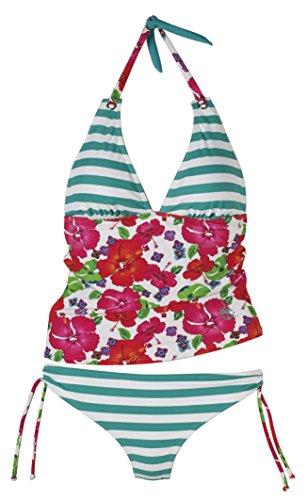Beco Damen Tankini Sailors Romance Schwimmkleidung, Grün-Pink, 44