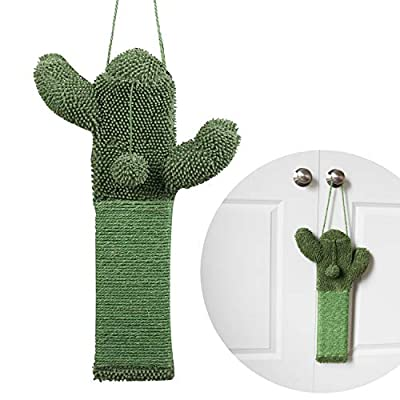 PetnPurr Cactus Cat Scratching Pad – Protect Your Furniture with Natural Sisal Scratcher for Hanging on Doorknobs or on The Wall