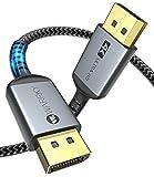DisplayPort Kabel 240Hz, WARRKY DP Kabel [ Vergoldete, SR Anti-Bruch, Geflochten] Unterstützung 4K@60Hz, 2K@144Hz/165Hz, 1080P@240Hz, 3D, DP ++, für PC, Monitor, Bildschirm, Laptop, Grafikkarte, 2m