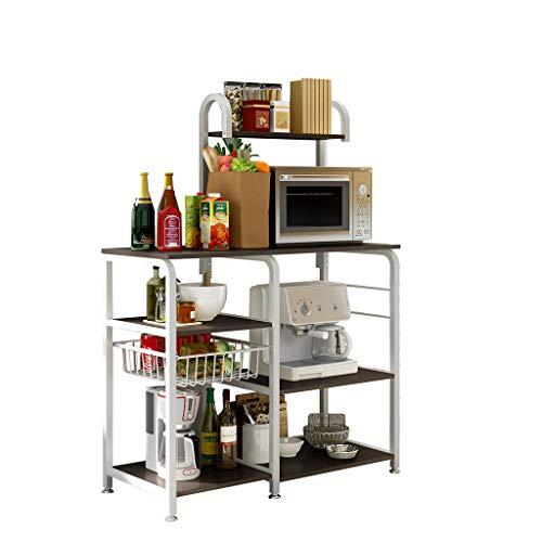 Sdoveb Kitchen Rack, Utility Storage Shelf, Microwave Stand 4-Tier + 3-Tier Shelf for Appliances Bake Spice Cooker Rack Organizer Workstation Shelf (Black)