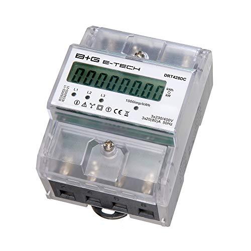 B+G E-Tech DRT428DC - digitaler 3 Phasen Stromzähler Drehstromzähler für DIN Hutschiene mit S0 Schnittstelle und LCD Display, nicht rückstellbar (manipulationssicher), direktmessend 3x230/400V 20(80)A