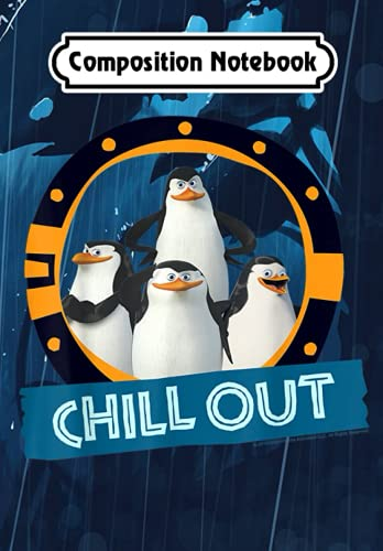 Composition Notebook: Madagascar Penguins Chill Out Text Poster, Journal 6 x 9, 100 Page Blank Lined Paperback Journal/Notebook