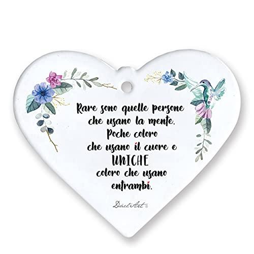 Tagliere Targa in Ceramica bianca lucida con scatola e laccio YUTA Rita Levi Montalcini Rase sono quelle persone che usano la mente Made in Italy