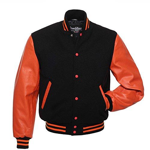 Varsity Letterman Jacket Black Wool & Orange Leather,C131-L