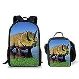 POLERO Torosaurus Print Backpack for Boys Cool School Book Bag