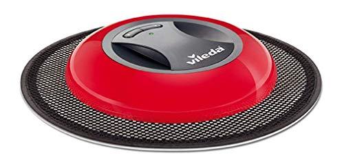 Vileda Virobi Robot Catturapolvere con Panno Usa e Getta, Robot Aspirapolvere per Casa, Ottimo per Peli d'Animale e Capelli, Senza Fili, Nero/Rosso