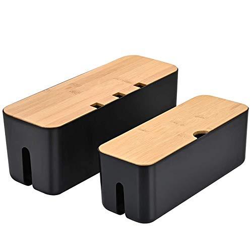 Yaootely Organizador de Caja de AdministracióN de Cables para Cables, Concentrador USB de Computadora, TV para Cubrir y Ocultar Regletas de Enchufes, Etc, Juego de 2 Negro