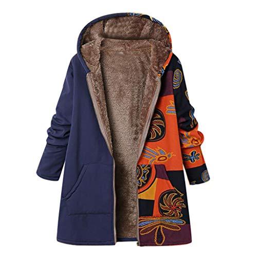 Vrouwen Herfst Winter Warm Jas, Dames Lange Mouw Vintage Bloemendruk Dikkere Rits Hooded Jas Bovenwerk met Pocket Plus Maat 18-28