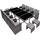TecTake Ensemble Salon de Jardin en Résine Tressée Poly Rotin Table Set 8+1+4 + Housse de Protection, Gris