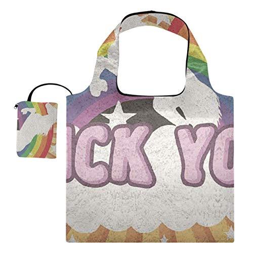 XiangHeFu Bolsas de compras reutilizables para regalo de comestibles, gran capacidad, plegable, puente arcoíris, estrella con unicornio
