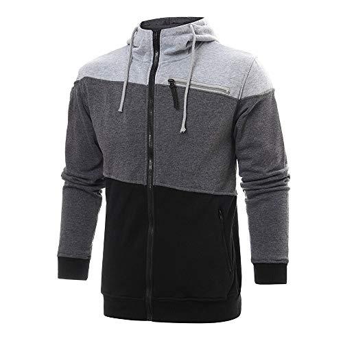 Riou Herren Sweatjacke Kapuzenjacke Männer Herbst Winter Patchwork Zip Hoodie Pullover Sweatshirt (L, Schwarz)