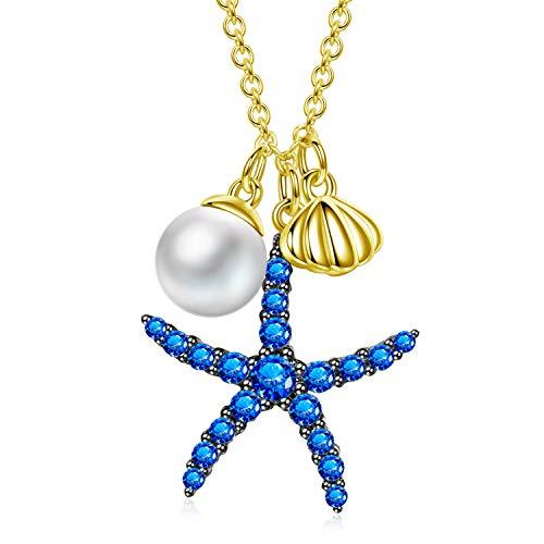 AVATAR Collar de Mujer Plata de Ley 925 Concha de mar Estrella de mar Perla 3A circón Cadena Ajustable Regalos extendidos para Mujeres niñas Madre Novia Amigos cumpleaños joyería
