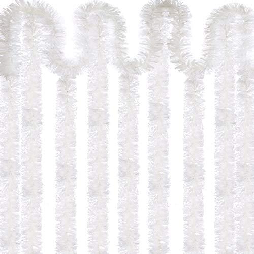 Sumind 6 Stück Weihnachten Tinsel 39,4 Füße Metallic Garland Funkelnde Hängende Dekoration für Weihnachtsbaum Kranz Hochzeit Party Lieferungen (Weiß)