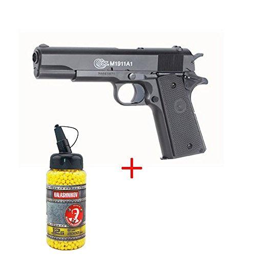 Airsoft CyberGun - pistola para airsoft Colt 1911, culata de metal con muelle, botella de balines de 0,12 g de regalo, fuerzas especiales, SWAT o cosplay, potencia de 0,5 julios