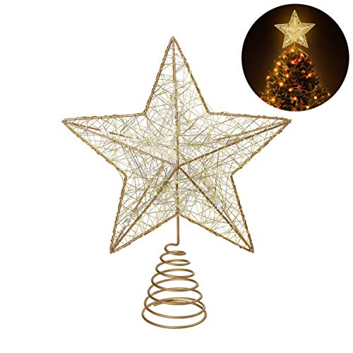 Cabilock NICEXMAS 10 Inches Christmas Tree LED Star Topper Xmas Tree Topper Star Creative Xmas Gift for Christmas Tree Decor(not Included)
