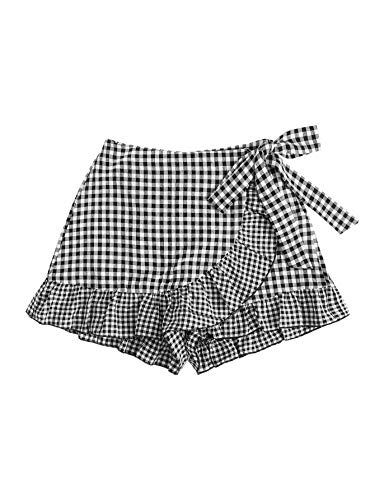 SheIn Women's Ruffle Wrap Knot Mid Waist Elastic Gingham Skort Mini Skirt Shorts Black Small