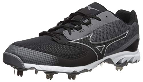 Mizuno Men's 9-Spike Dominant IC Low Metal Baseball Cleat Shoe, Charcoal/Black, 14 D US