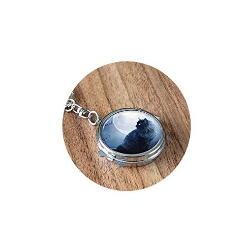 bab Porte-clés pour Chat Noir - Miroir Pliable - Portable - Poche Ronde - Cosmétique