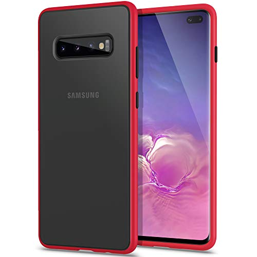 YATWIN Funda Samsung Galaxy S10 Plus, [Shockproof Style] Funda Protectora Parte Posterior de PC Dura Translúcida Mate, Botones Coloridos, Topes Flexible de TPU para Carcasa Samsung S10+ Plus- Rojo
