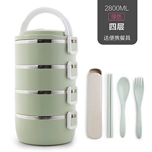 Luckyfree Lunch Box roestvrij staal Bento voedsel vervoerder container voor studenten volwassenen kinderen picknick voedsel container roestvrij staal anti-joodse kinderen studenten, groene 4-Tier schotel