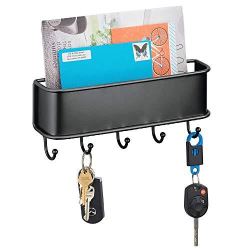 mDesign Briefablage mit mehreren Schlüsselhaken – Wandorganizer für Post, Schlüssel, Handys, Hundeleinen usw. – Schlüsselbrett mit Ablage aus Metall – schwarz