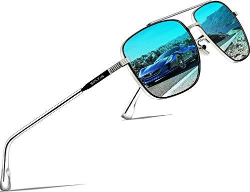 SIPLION Herren Polarisiert Sonnenbrille Pilotenbrille Fahrerbrille Verspiegelt UV400 6055-BLUE