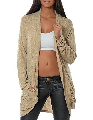 Damen Cardigan Strickjacke Pullover 13367 One Size Beige