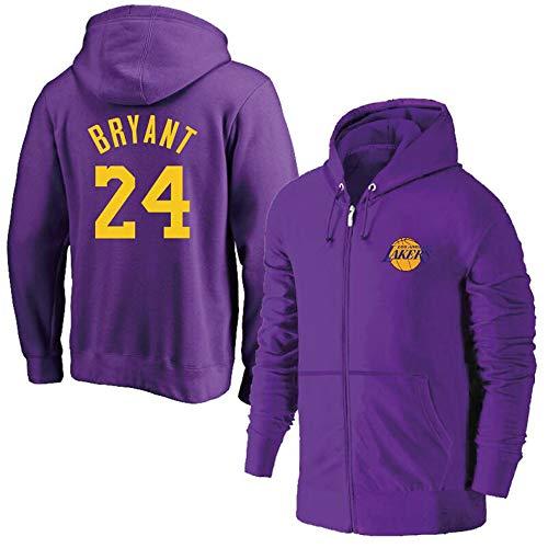 AMJUNM Cerniera Giacca Felpa da Uomo Donna Lakers 24# Bryant Jerseys Felpa da Basket Felpa Sportiva da Allenamento Allentata Sweatshirt